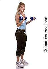 fitness model - healthy fitness model posing on white...