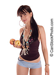 Woman eating a apple - Young brunette girl posing and eating...