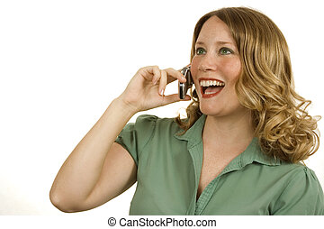 Laughing - Young woman on white laughing on cell phone