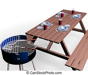 Barbecue items - 3D render of barbecue items