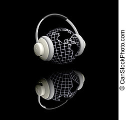 World music - 3D render of globe with headphones