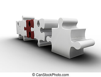 Puzzle pieces - 3D render of puzzle pieces interlocking
