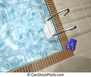 Swimming pool - 3D render of a swimming pool