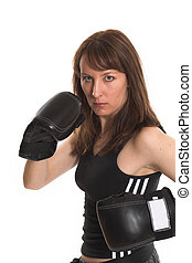 woman wearing karate gloves over white background