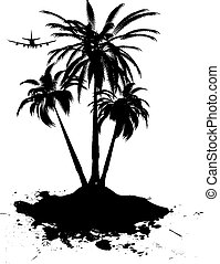 holiday destination - Palm tree sway in the hot summer...