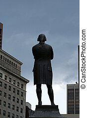 sam adams - statue of samual adams stands looking over the...