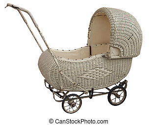 An Antique Wicker Pram - A vintage cane pram with clipping...
