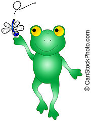 Frog catching bug.