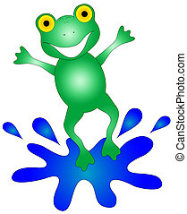 Happy Frog - Colorful, happy frog hopping into a puddle of...