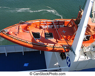 Lifeboat in bright orange color - Lifeboat rescue boat on a...