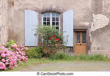 fenêtre, fleurs