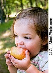 Apple Snack - a toddler eating a nice crisp apple