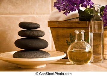 Oil and stones - day spa products for alternative medicine