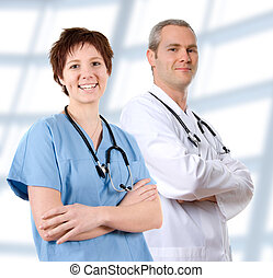 Doctor in labcoat - happy male doctor in lab coat on white