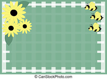 Honey Bee and Daisies - Green plaid honey bee and daisy...