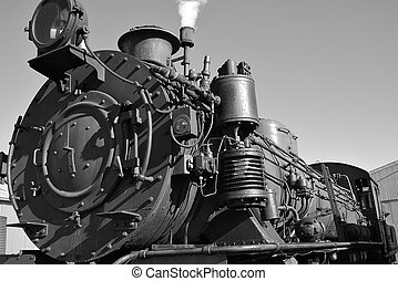 old steam train - an old steam train in black in white