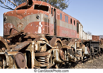 old train in yard - old diesel locomotive train in yard