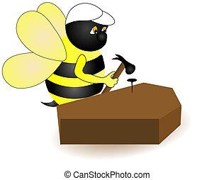 Carpenter Bee. - A bee nailing a nail into a coffin. Cartoon...