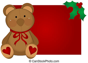 Christmas Teddy Bear - Christmas teddy bear with hearts and...