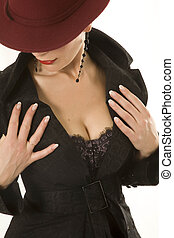 Clous-up of womans chest and lower part of her face covered...