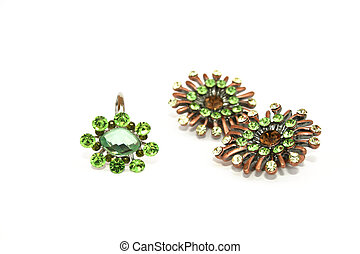 Ring and earrings - Green ring and earrings isolated on the...