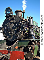 close up of steam train