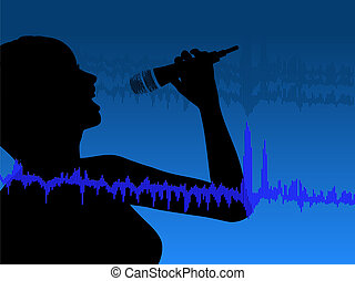 Singing the Blues - Nightclub Singer with a microphone and...