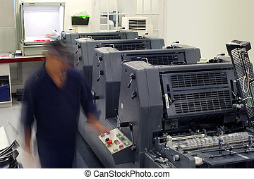 Printhouse pressroom - Motion blur on a printing company...
