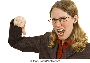 Thumbs Down - Businesswoman on white giving a thumbs down...