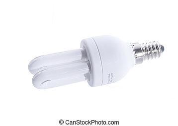 Energy saving light bulb, isolated on white background
