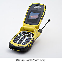 Cell Phone - Yellow and black cell phone with a lighted...