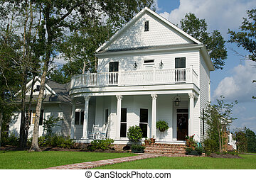 Two-Story White House - two-story white house in small...