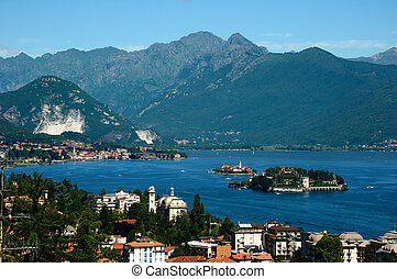 lake panorama - View of the coastline of Lago Maggiore,...