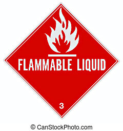 Flammable Liquid Sign - Placard or sign to warn of a...