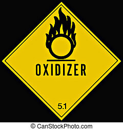 Oxidizer Sign - Placard or sign warning of an oxidizing...