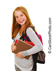 Back to school - Young smiling school girl with backpack and...
