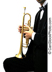 trumpet player - trumpet music player in a luxury suit and...