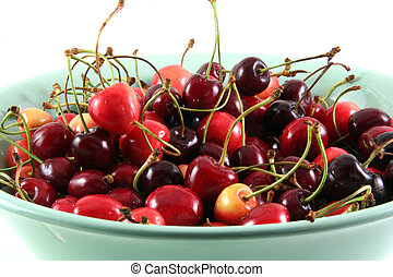 cherry - ripe cherry in a light green blue plate
