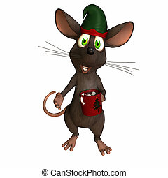 Mouse - Cocoa - Mouse wearings an elf hat and holding a cup...