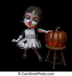 dia das bruxas, boneca,  -, faca,  6