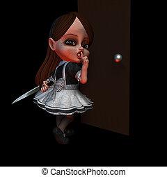 Halloween Doll 4 - Shhh - Shhhh Halloween doll hiding a...