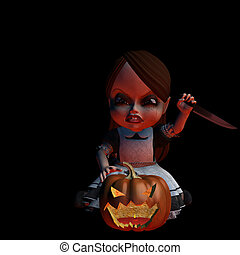 Halloween Doll 2 - Carving - Carving Angry Halloween doll...