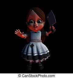dia das bruxas, boneca, 1, -, ficar, costas