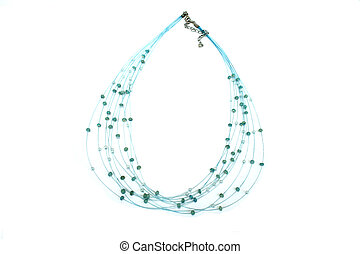 Necklace - Blue necklace with beads isolated on the white.