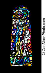 Religious Stained Glass Window - A religious stained glass...