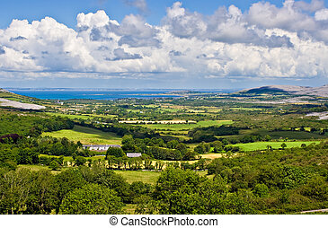 Ireland Landscape - Landscape of County Clare, Ireland Green...