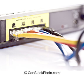 Network cables connecting to a DSL router