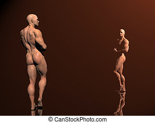 Body building, shadow play - 3d illustration, body builder...