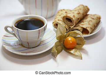 Coffee - Two cups on a green wooden napkin