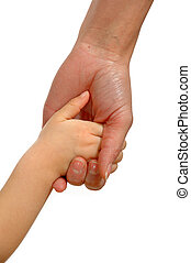 Young and old hands - Young child hand holding adult hand